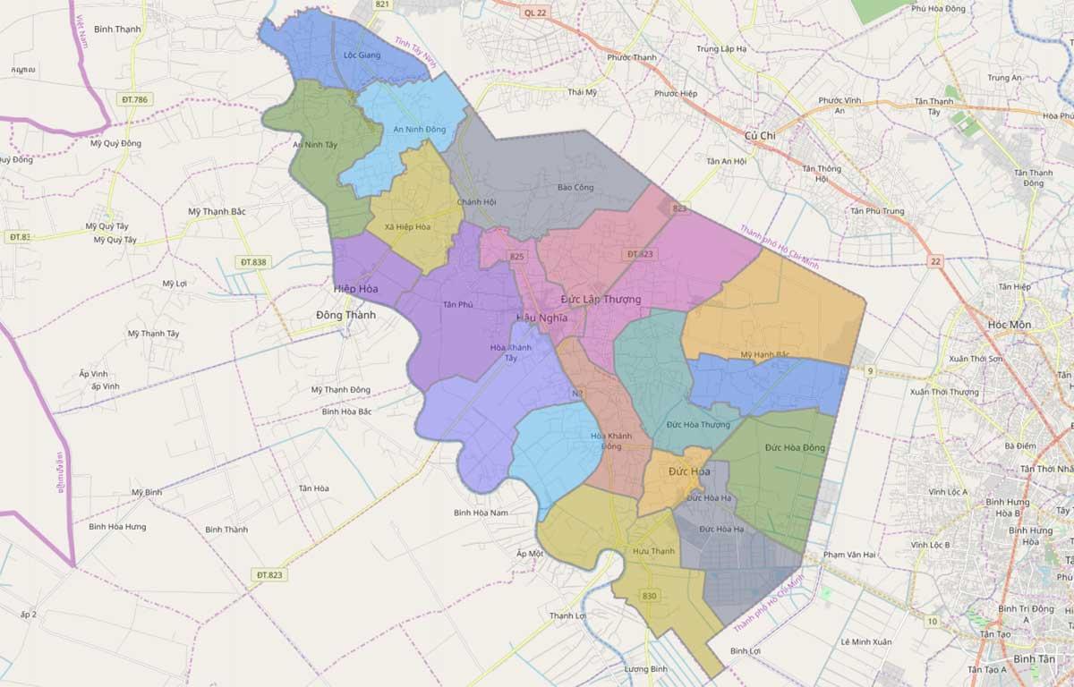 Bản đồ hành chính huyện Đức Hòa Long An - BẢN ĐỒ HÀNH CHÍNH TỈNH LONG AN & THÔNG TIN QUY HOẠCH MỚI NHẤT 2020
