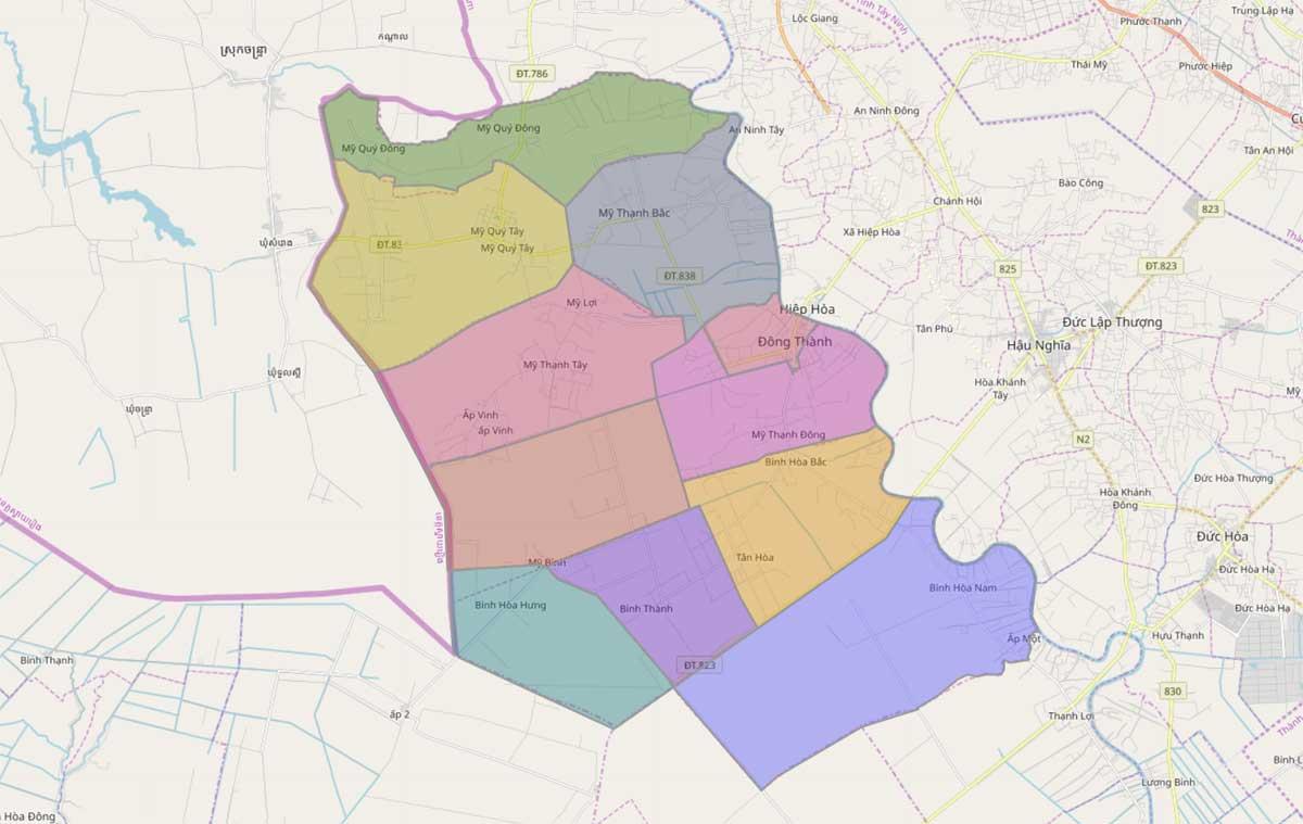 Bản đồ hành chính huyện Đức Huệ Long An - BẢN ĐỒ HÀNH CHÍNH TỈNH LONG AN & THÔNG TIN QUY HOẠCH MỚI NHẤT 2020