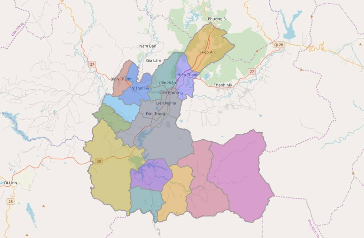 Bản đồ hành chính huyện Đức Trọng - BẢN ĐỒ HÀNH CHÍNH TỈNH LÂM ĐỒNG & THÔNG TIN QUY HOẠCH MỚI NHẤT 2021