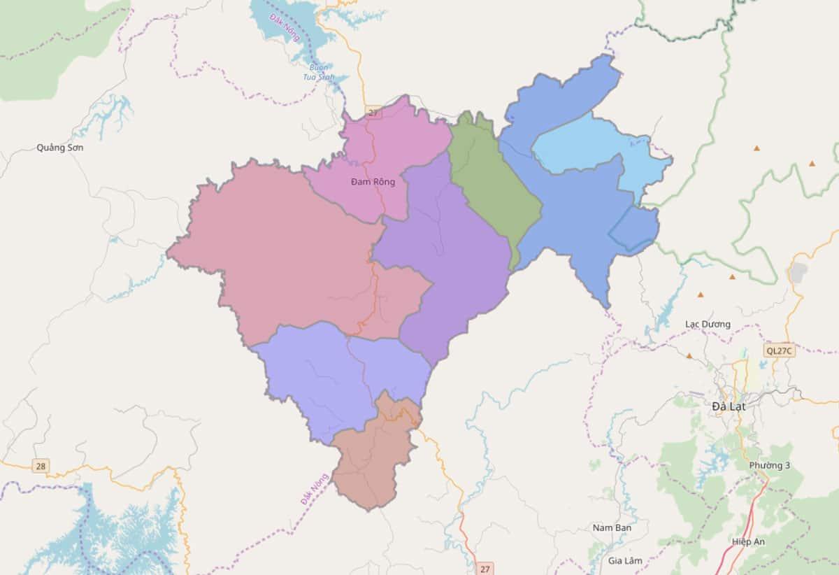 Bản đồ hành chính huyện Đam Rông - BẢN ĐỒ HÀNH CHÍNH TỈNH LÂM ĐỒNG & THÔNG TIN QUY HOẠCH MỚI NHẤT 2021