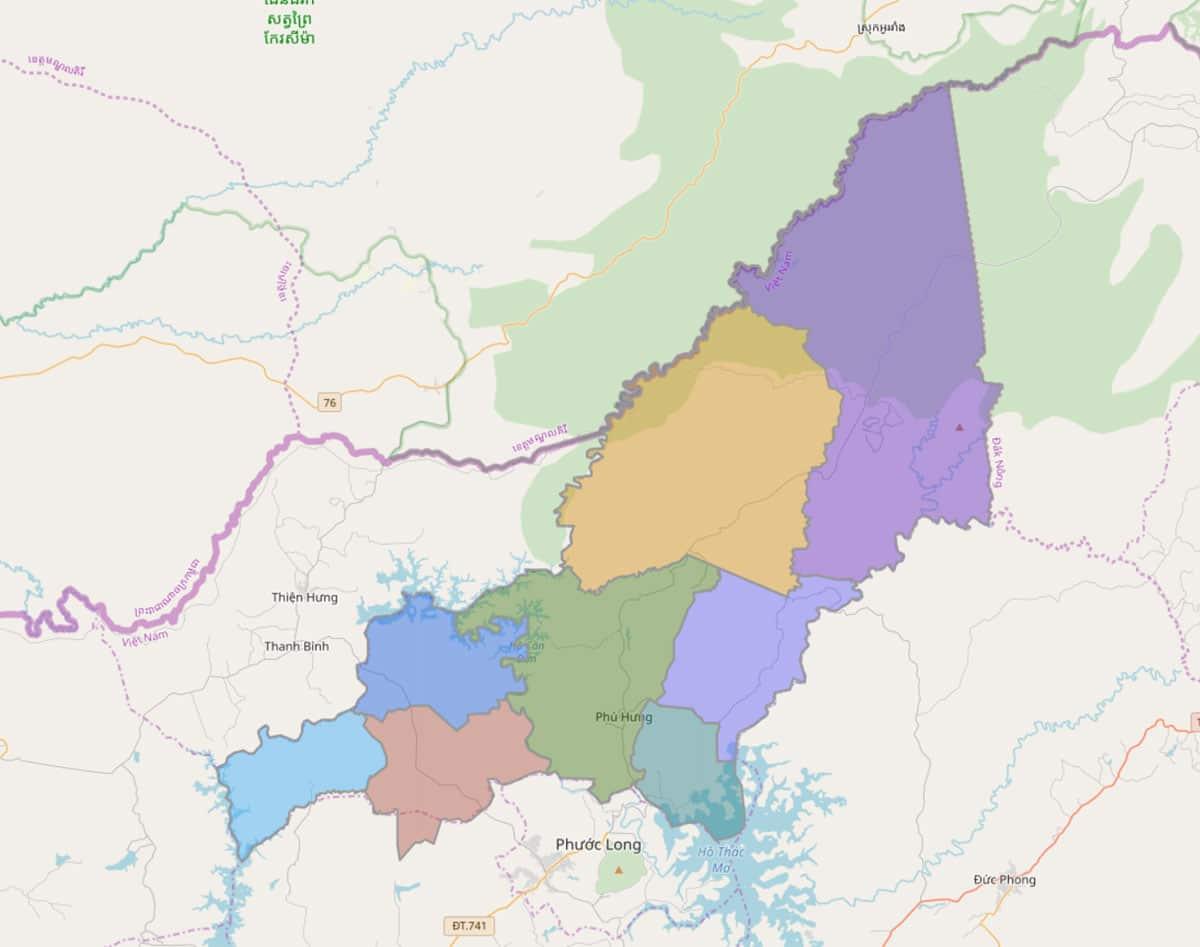 Bản đồ hành chính huyện Bù Gia Mập - BẢN ĐỒ HÀNH CHÍNH TỈNH BÌNH PHƯỚC & THÔNG TIN QUY HOẠCH MỚI NHẤT 2020