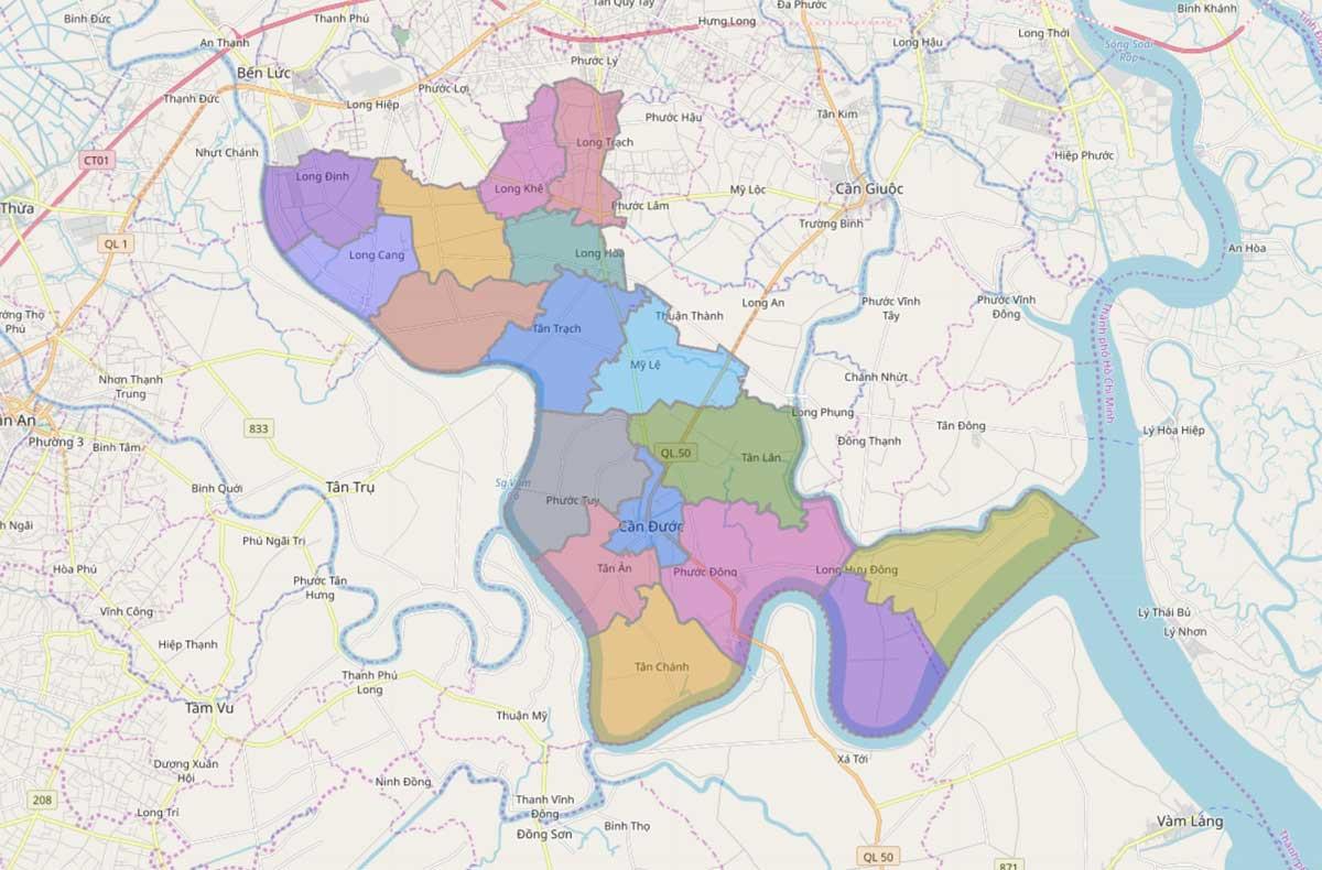 Bản đồ hành chính huyện Cần Đước Long An - BẢN ĐỒ HÀNH CHÍNH TỈNH LONG AN & THÔNG TIN QUY HOẠCH MỚI NHẤT 2020