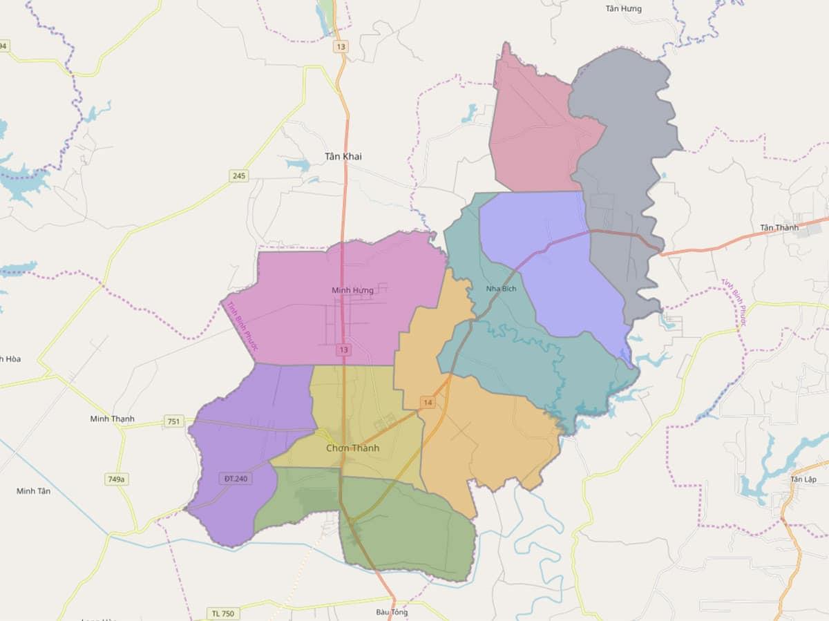 Bản đồ hành chính huyện Chơn Thành - BẢN ĐỒ HÀNH CHÍNH TỈNH BÌNH PHƯỚC & THÔNG TIN QUY HOẠCH MỚI NHẤT 2020