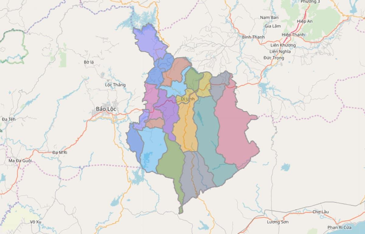 Bản đồ hành chính huyện Di Linh - BẢN ĐỒ HÀNH CHÍNH TỈNH LÂM ĐỒNG & THÔNG TIN QUY HOẠCH MỚI NHẤT 2021