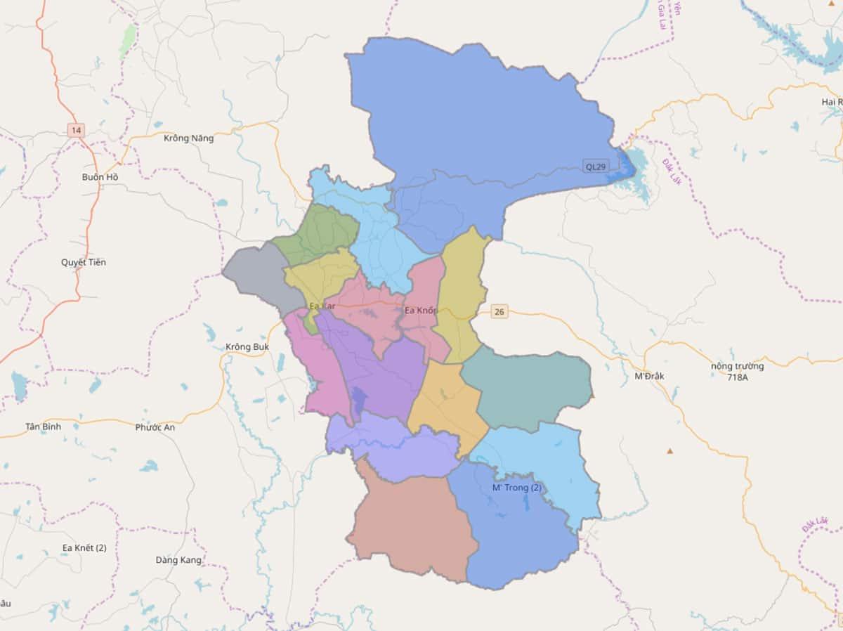 Bản đồ hành chính huyện Ea Kar - BẢN ĐỒ HÀNH CHÍNH TỈNH ĐẮK LẮK & THÔNG TIN QUY HOẠCH MỚI NHẤT 2021
