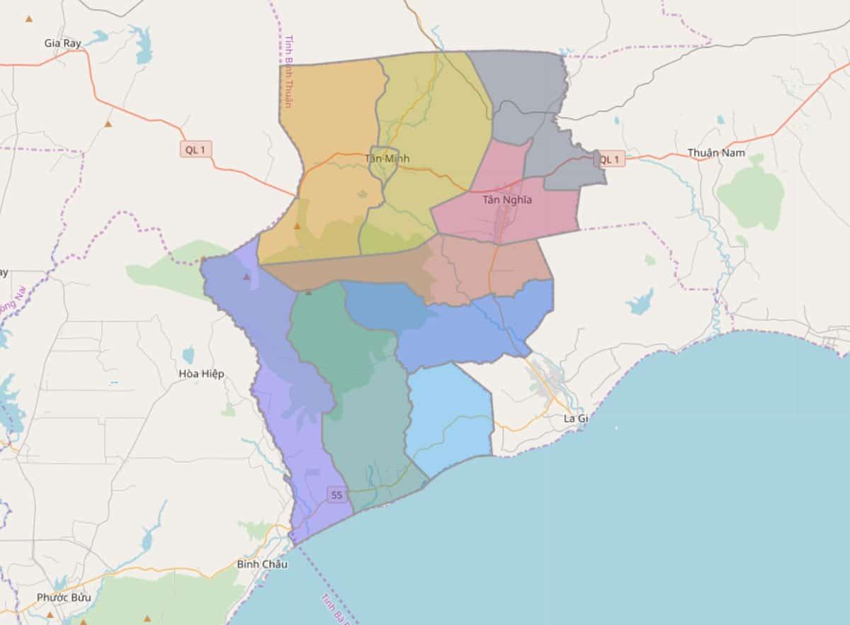 Bản đồ hành chính huyện Hàm Tân - BẢN ĐỒ HÀNH CHÍNH TỈNH BÌNH THUẬN & THÔNG TIN QUY HOẠCH MỚI NHẤT 2021
