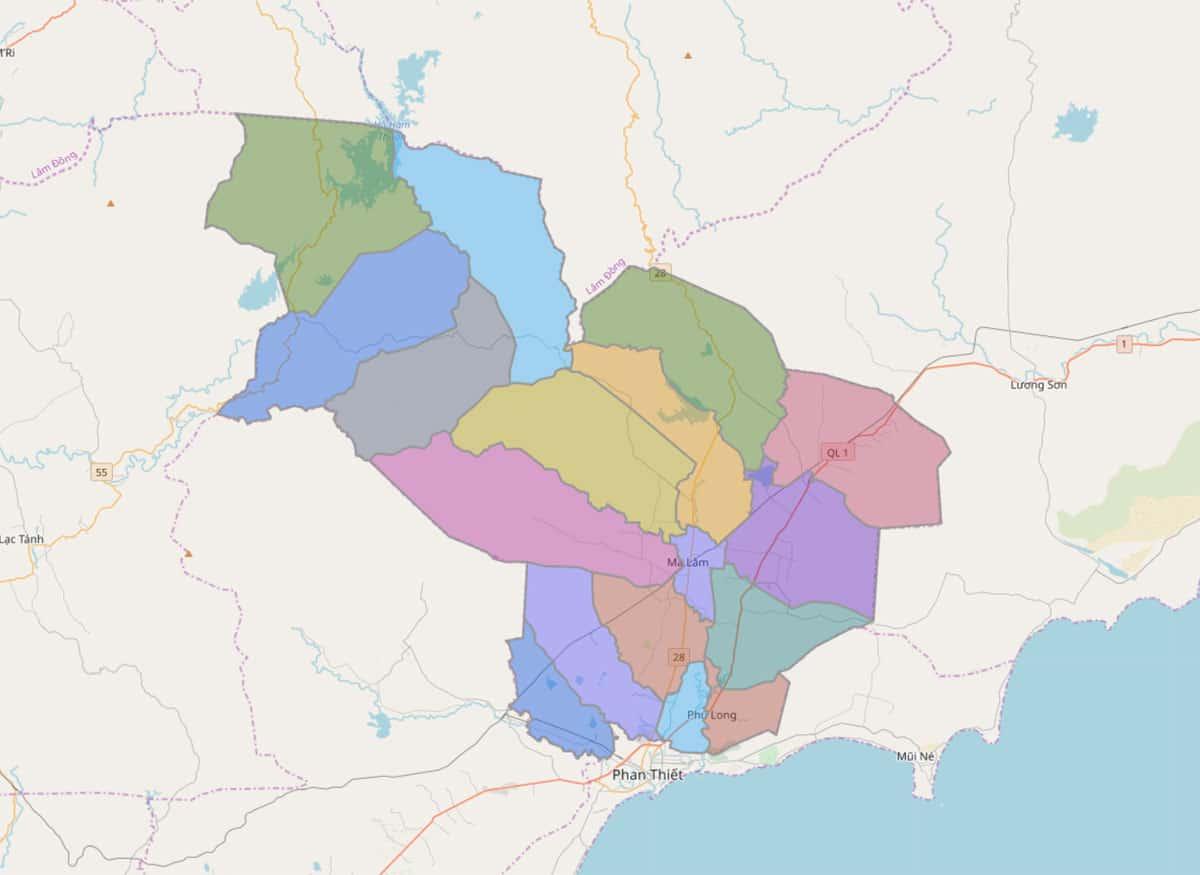 Bản đồ hành chính huyện Hàm Thuận Bắc - BẢN ĐỒ HÀNH CHÍNH TỈNH BÌNH THUẬN & THÔNG TIN QUY HOẠCH MỚI NHẤT 2020