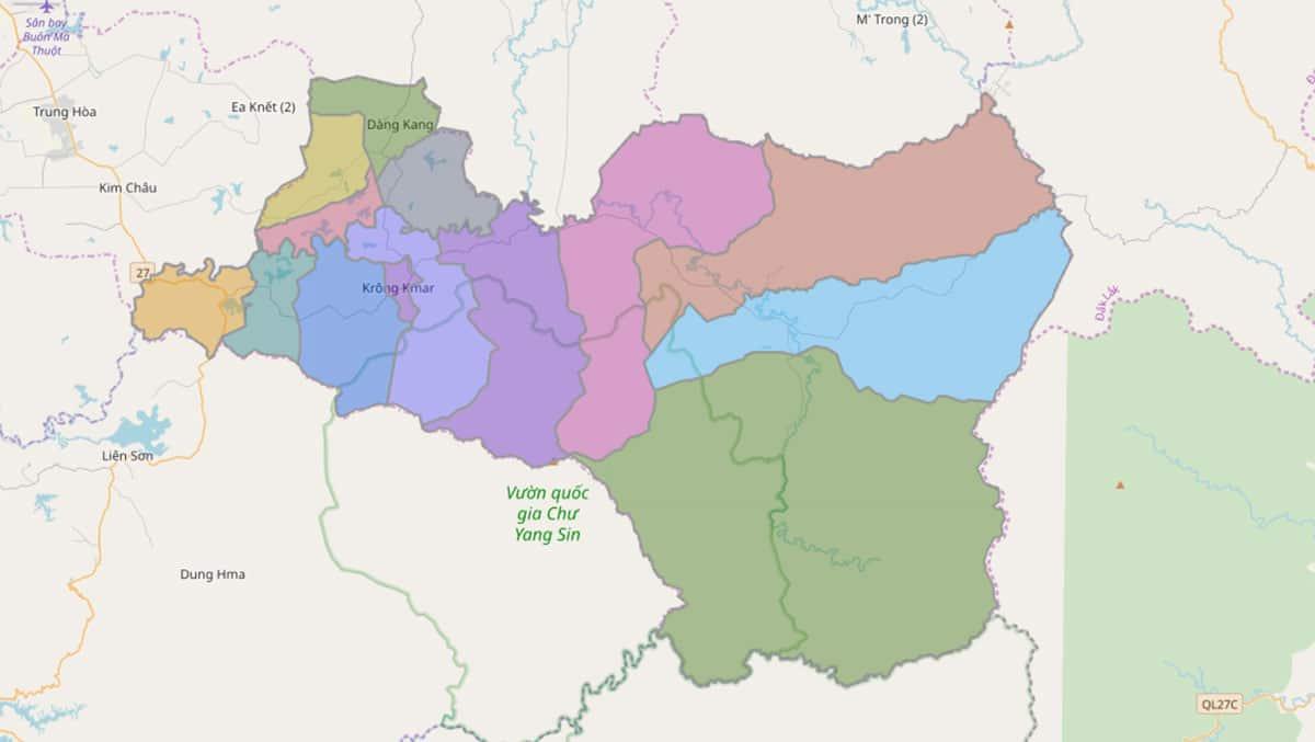 Bản đồ hành chính huyện Krông Bông - BẢN ĐỒ HÀNH CHÍNH TỈNH ĐẮK LẮK & THÔNG TIN QUY HOẠCH MỚI NHẤT 2021
