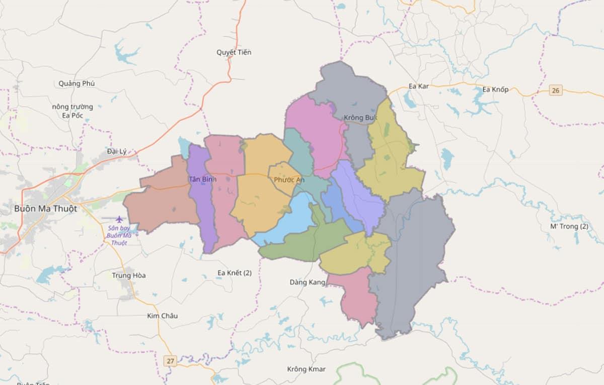 Bản đồ hành chính huyện Krông Pắc - BẢN ĐỒ HÀNH CHÍNH TỈNH ĐẮK LẮK & THÔNG TIN QUY HOẠCH MỚI NHẤT 2021