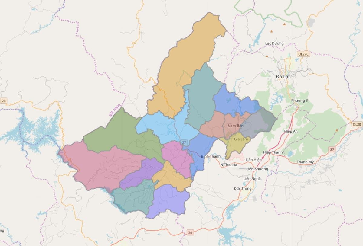 Bản đồ hành chính huyện Lâm Hà - BẢN ĐỒ HÀNH CHÍNH TỈNH LÂM ĐỒNG & THÔNG TIN QUY HOẠCH MỚI NHẤT 2021
