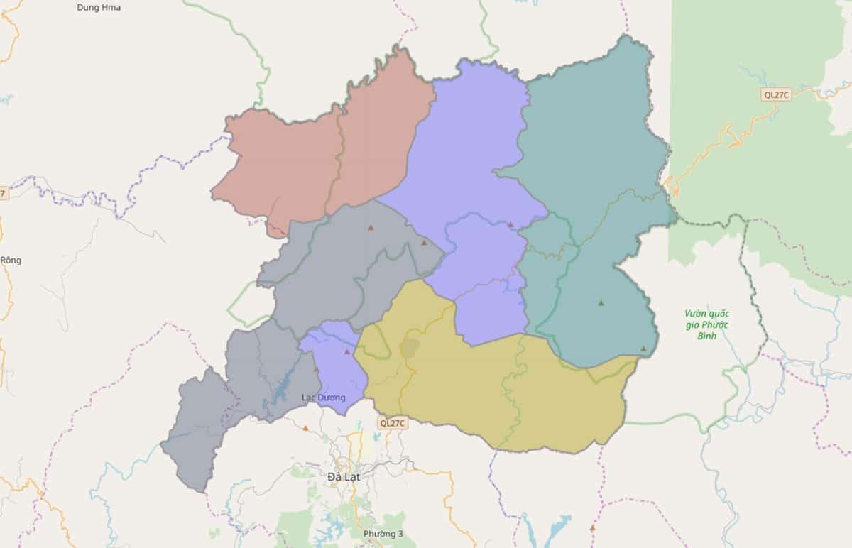 Bản đồ hành chính huyện Lạc Dương - BẢN ĐỒ HÀNH CHÍNH TỈNH LÂM ĐỒNG & THÔNG TIN QUY HOẠCH MỚI NHẤT 2021