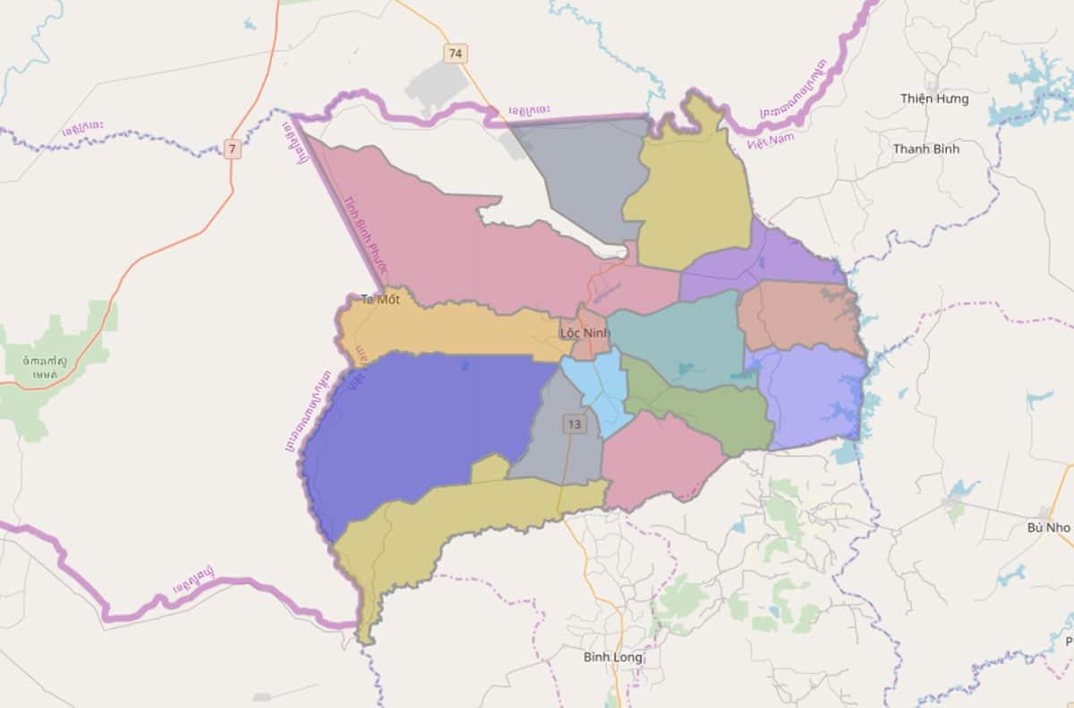 Bản đồ hành chính huyện Lộc Ninh - BẢN ĐỒ HÀNH CHÍNH TỈNH BÌNH PHƯỚC & THÔNG TIN QUY HOẠCH MỚI NHẤT 2020
