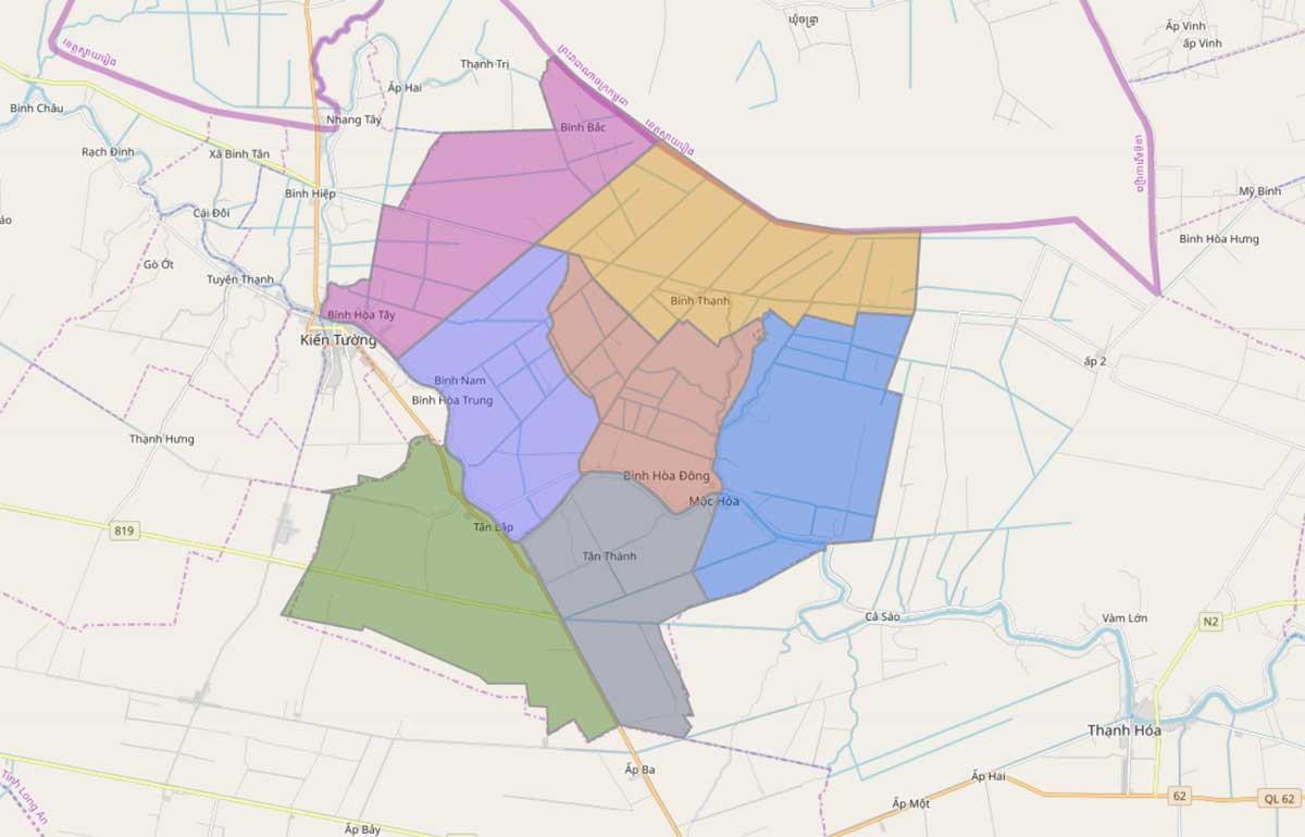 Bản đồ hành chính huyện Mộc Hóa Long An - BẢN ĐỒ HÀNH CHÍNH TỈNH LONG AN & THÔNG TIN QUY HOẠCH MỚI NHẤT 2020