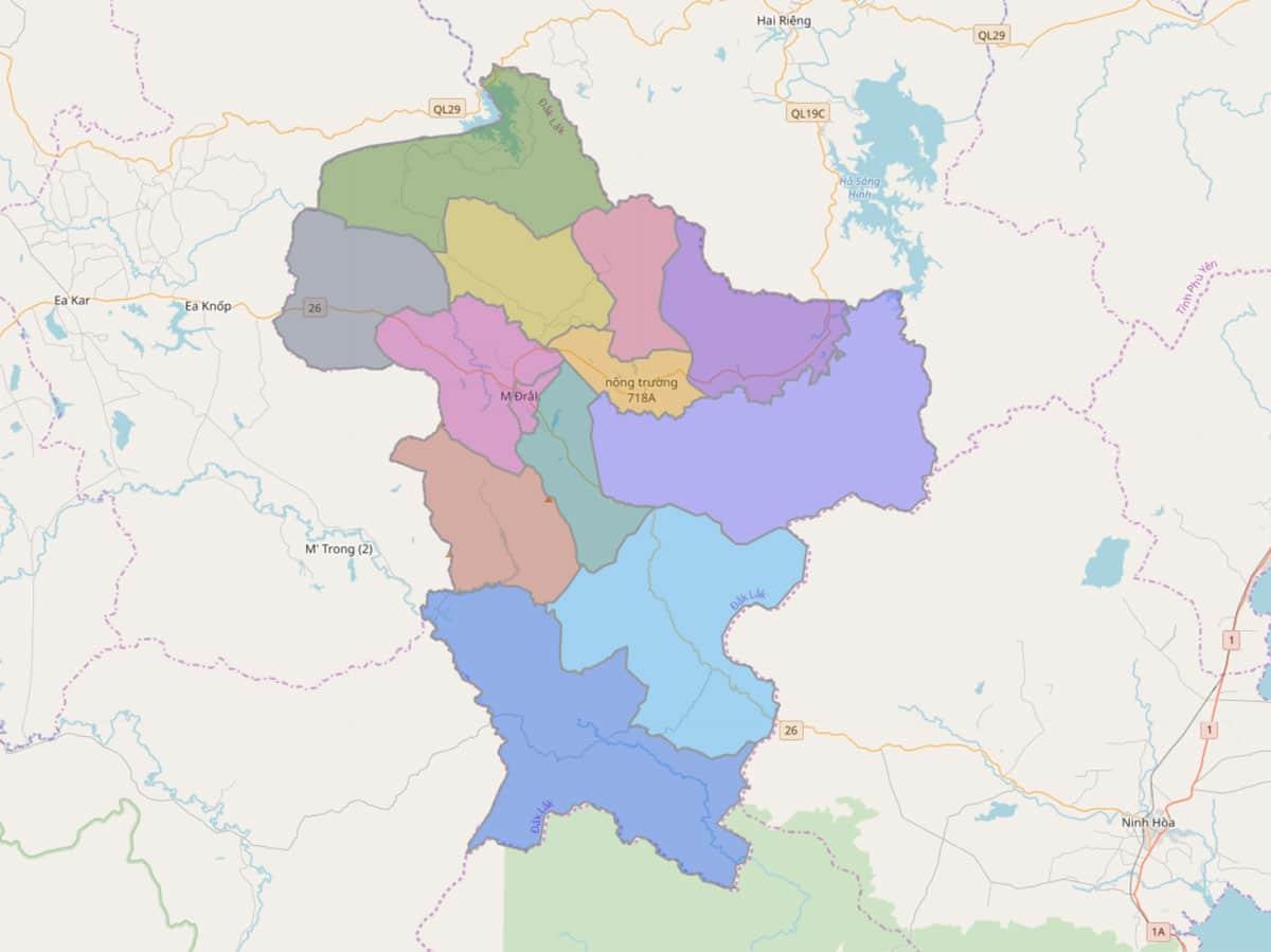 Bản đồ hành chính huyện M'Đrắk - BẢN ĐỒ HÀNH CHÍNH TỈNH ĐẮK LẮK & THÔNG TIN QUY HOẠCH MỚI NHẤT 2021