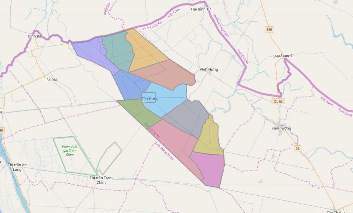 Bản đồ hành chính huyện Tân Hưng Long An - BẢN ĐỒ HÀNH CHÍNH TỈNH LONG AN & THÔNG TIN QUY HOẠCH MỚI NHẤT 2020