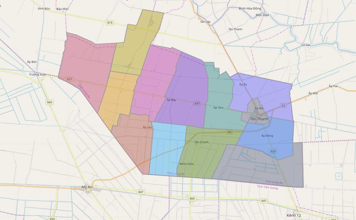 Bản đồ hành chính huyện Tân Thạnh Long An - BẢN ĐỒ HÀNH CHÍNH TỈNH LONG AN & THÔNG TIN QUY HOẠCH MỚI NHẤT 2020