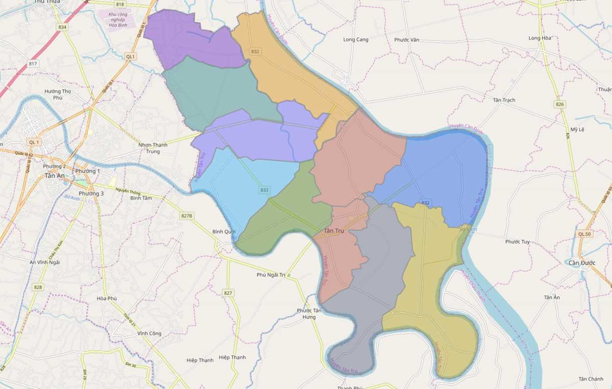 Bản đồ hành chính huyện Tân Trụ Long An - BẢN ĐỒ HÀNH CHÍNH TỈNH LONG AN & THÔNG TIN QUY HOẠCH MỚI NHẤT 2020