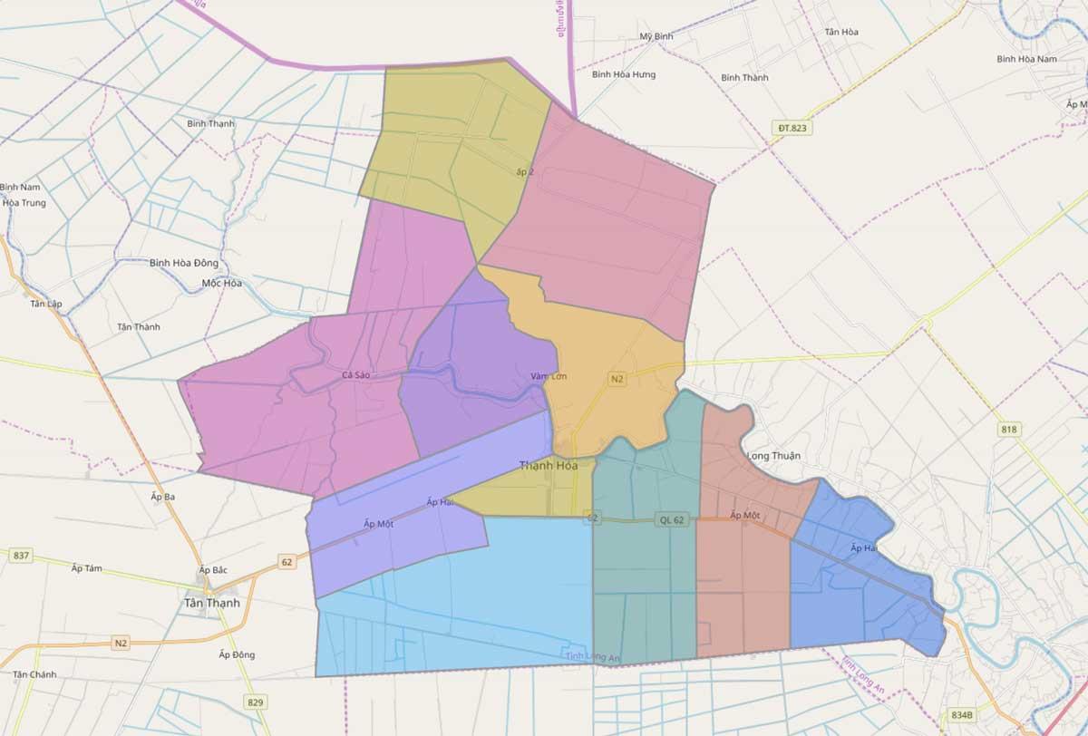 Bản đồ hành chính huyện Thạnh Hóa Long An - BẢN ĐỒ HÀNH CHÍNH TỈNH LONG AN & THÔNG TIN QUY HOẠCH MỚI NHẤT 2020