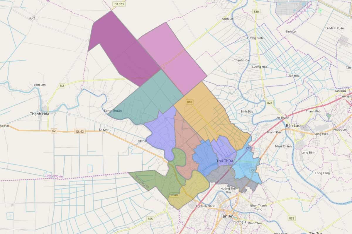 Bản đồ hành chính huyện Thủ Thừa Long An - BẢN ĐỒ HÀNH CHÍNH TỈNH LONG AN & THÔNG TIN QUY HOẠCH MỚI NHẤT 2020