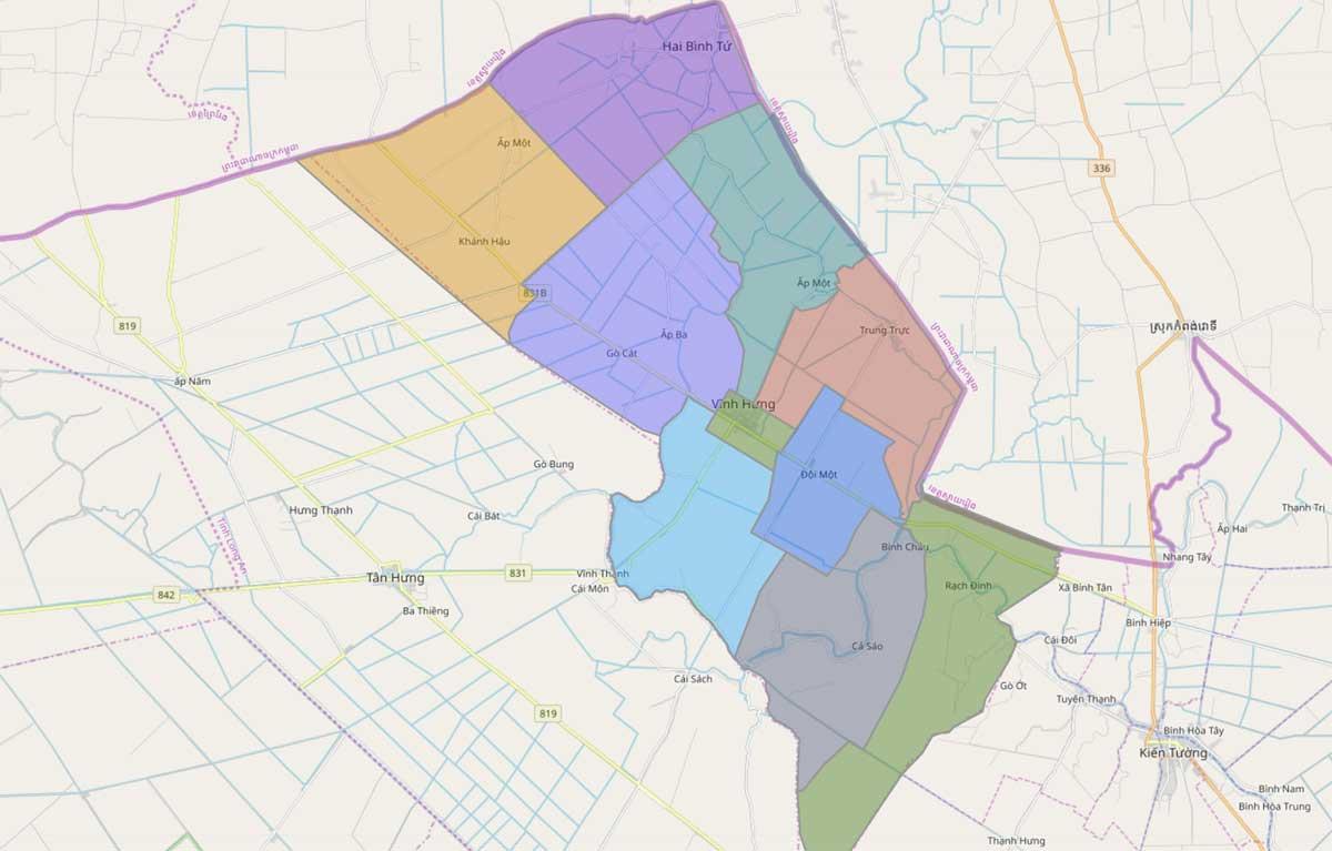 Bản đồ hành chính huyện Vĩnh Hưng Long An - BẢN ĐỒ HÀNH CHÍNH TỈNH LONG AN & THÔNG TIN QUY HOẠCH MỚI NHẤT 2020