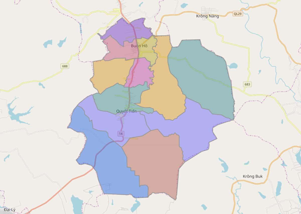 Bản đồ hành chính thị xã Buôn Hồ - BẢN ĐỒ HÀNH CHÍNH TỈNH ĐẮK LẮK & THÔNG TIN QUY HOẠCH MỚI NHẤT 2021
