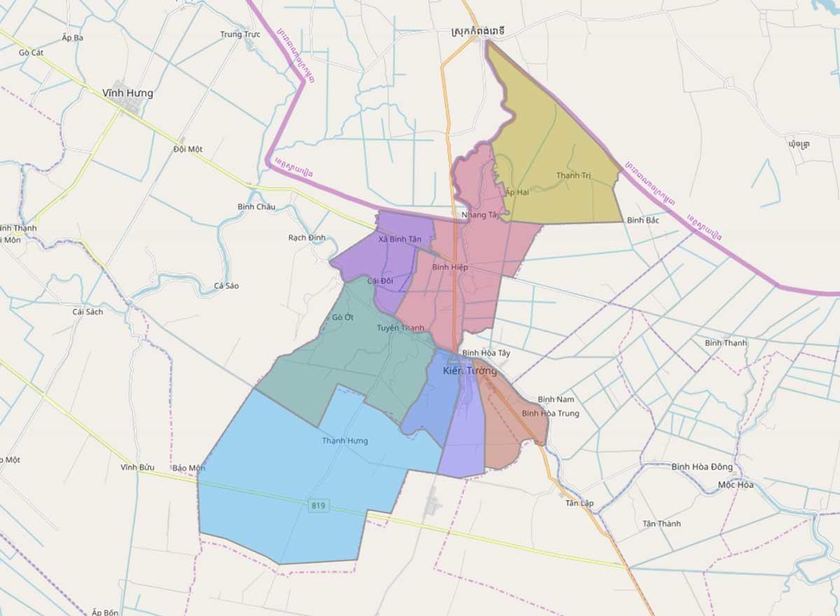 Bản đồ hành chính thị xã Kiến Tường Long An - BẢN ĐỒ HÀNH CHÍNH TỈNH LONG AN & THÔNG TIN QUY HOẠCH MỚI NHẤT 2020