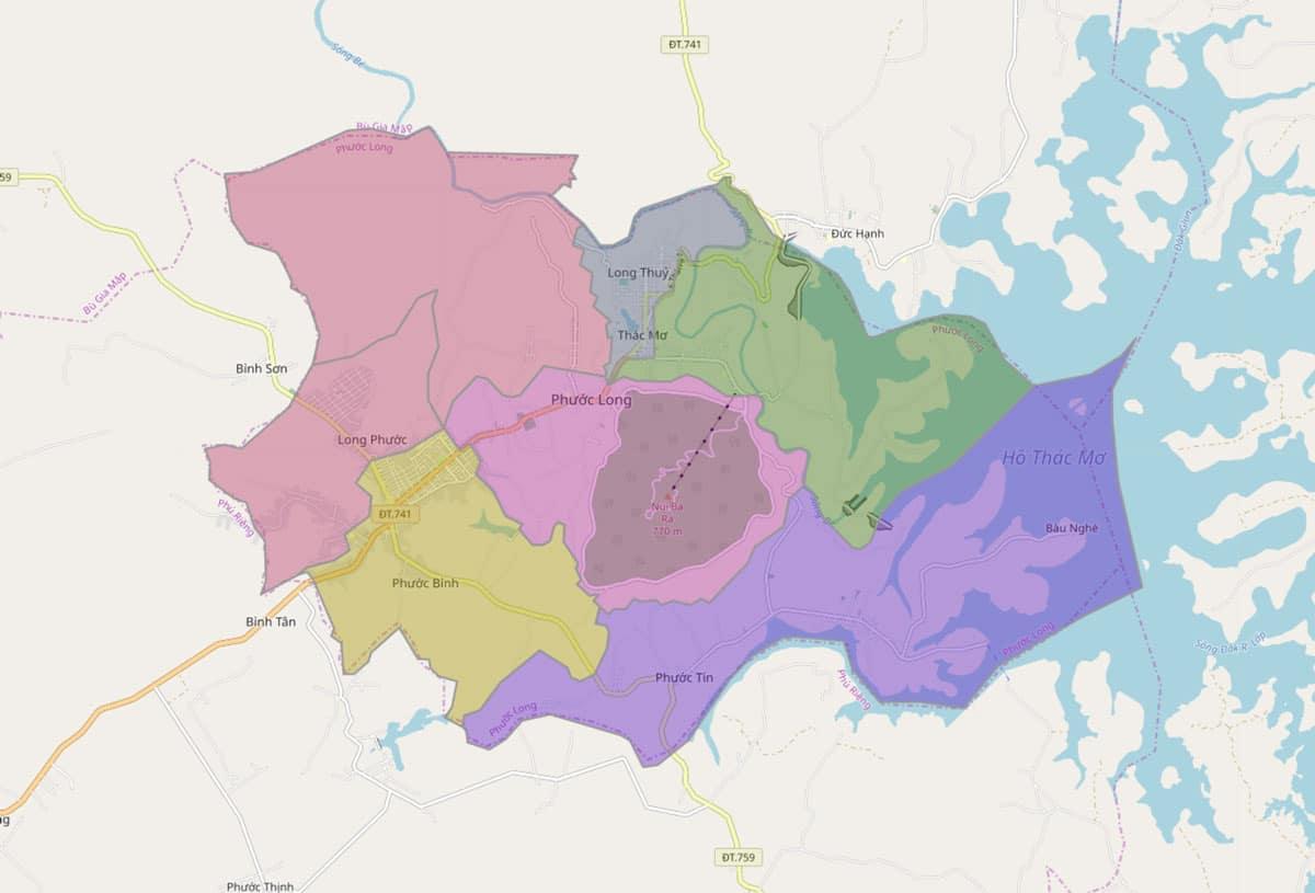Bản đồ hành chính thị xã Phước Long - BẢN ĐỒ HÀNH CHÍNH TỈNH BÌNH PHƯỚC & THÔNG TIN QUY HOẠCH MỚI NHẤT 2020