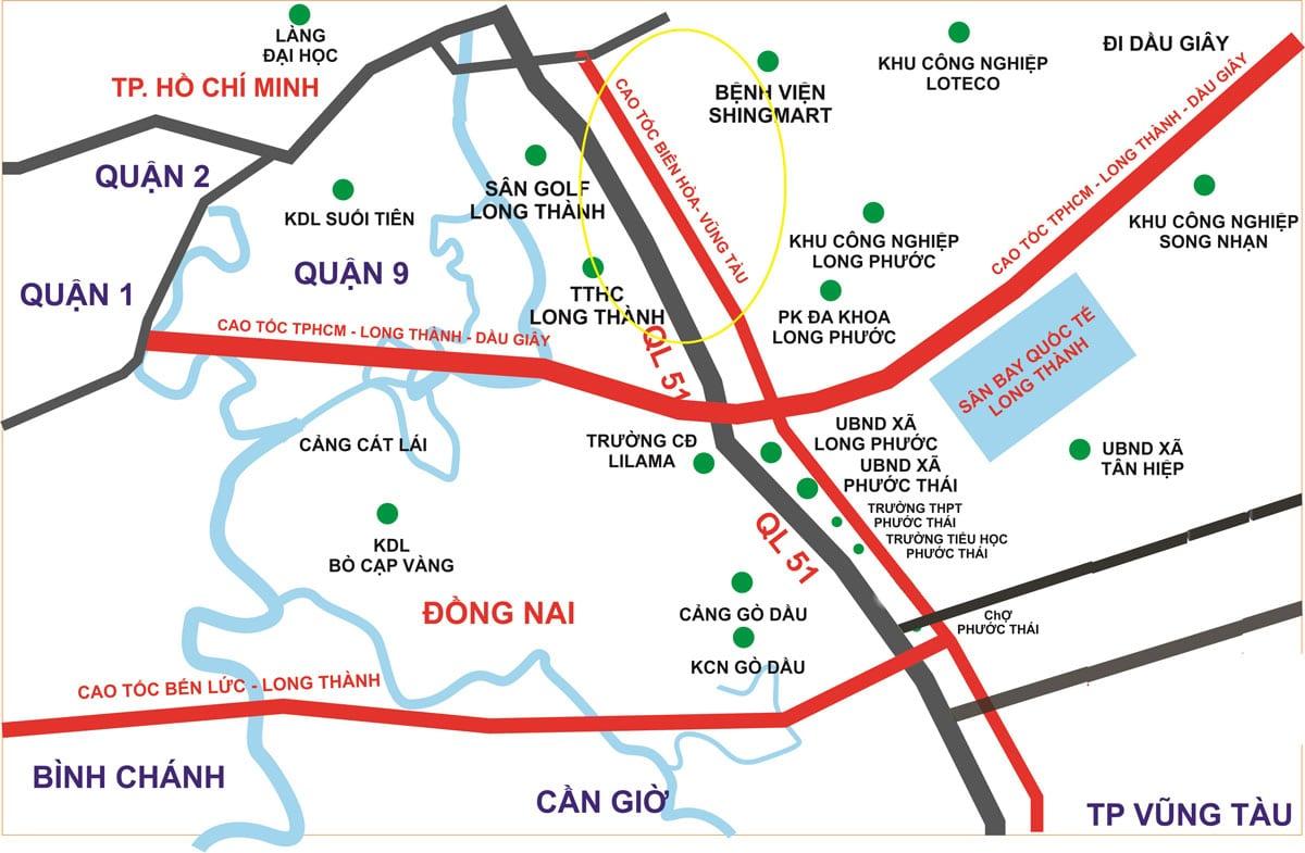Vị trí Tuyến Cao tốc Biên Hòa – Vũng Tàu