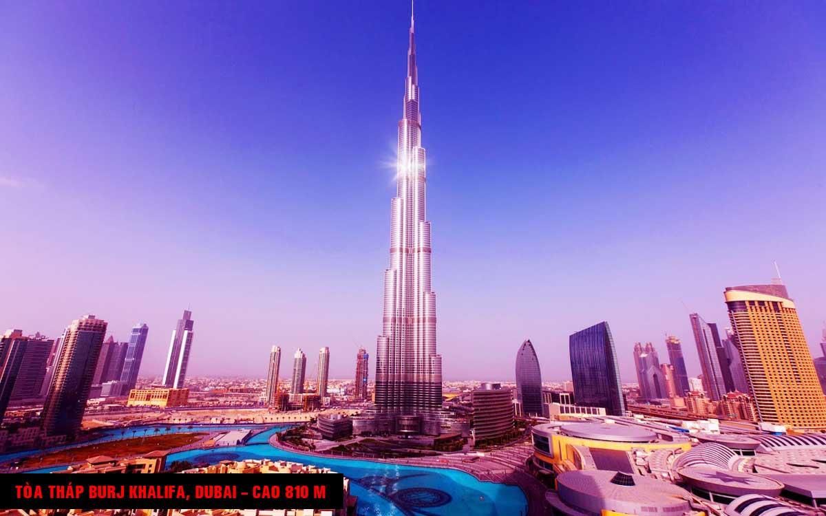 Tòa tháp Burj Khalifa Dubai Cao 810 m - TOP 16 TÒA NHÀ CAO NHẤT THẾ GIỚI CẬP NHẬT MỚI NHẤT NĂM 2021