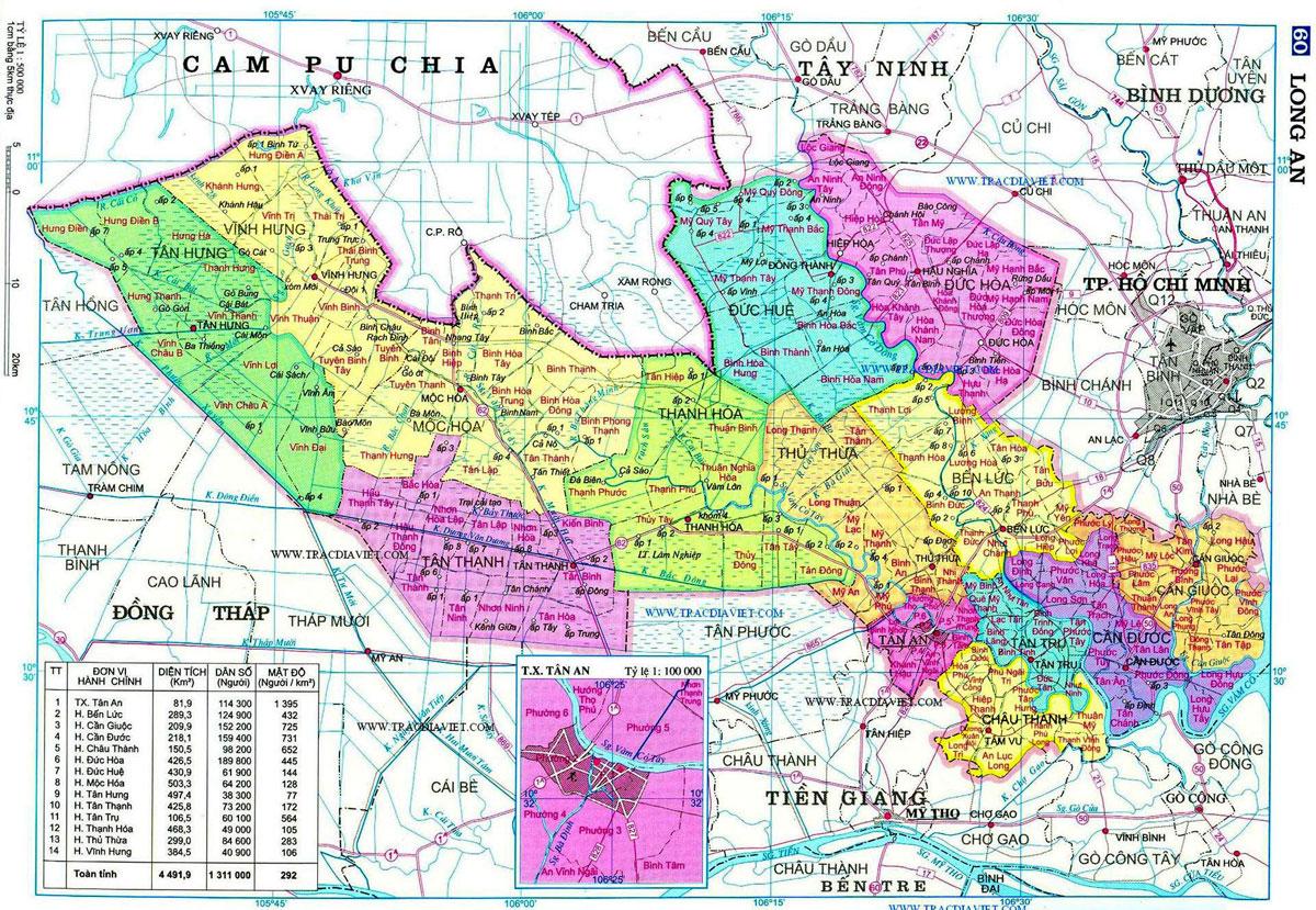 ban do hanh chinh tinh long an - BẢN ĐỒ HÀNH CHÍNH TỈNH LONG AN & THÔNG TIN QUY HOẠCH MỚI NHẤT 2020
