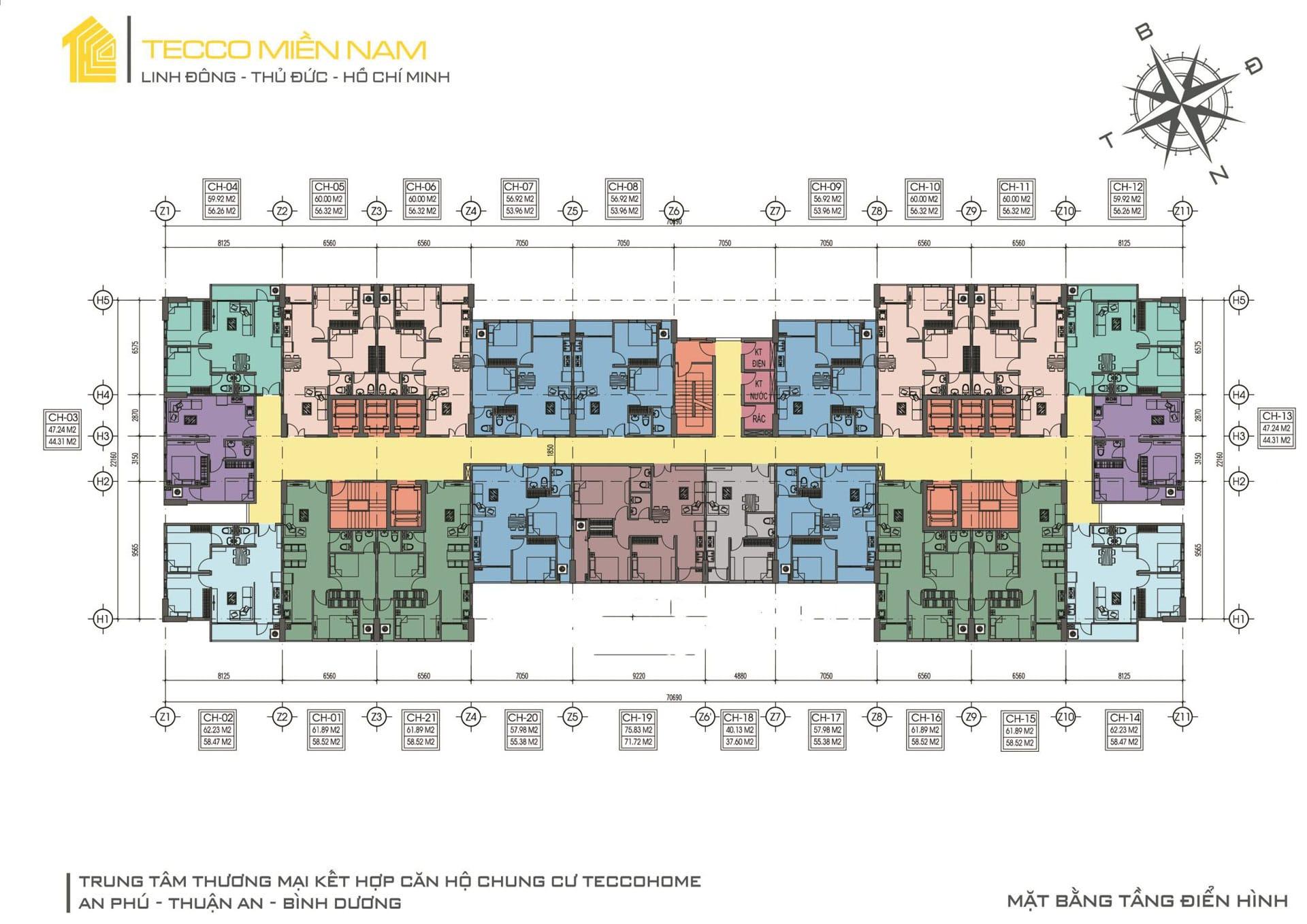 mặt bằng tầng 3 23 dự án căn hộ tecco home an phú bình dương - DỰ ÁN CĂN HỘ TECCO HOME AN PHÚ BÌNH DƯƠNG