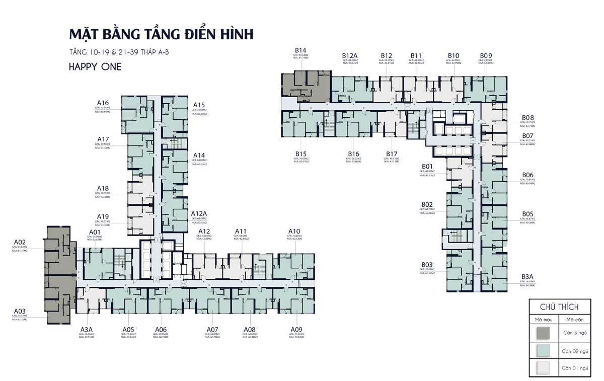 mat bang tang 10 19 21 39 thap A B Happy One Central - DỰ ÁN CĂN HỘ HAPPY ONE CENTRAL BÌNH DƯƠNG