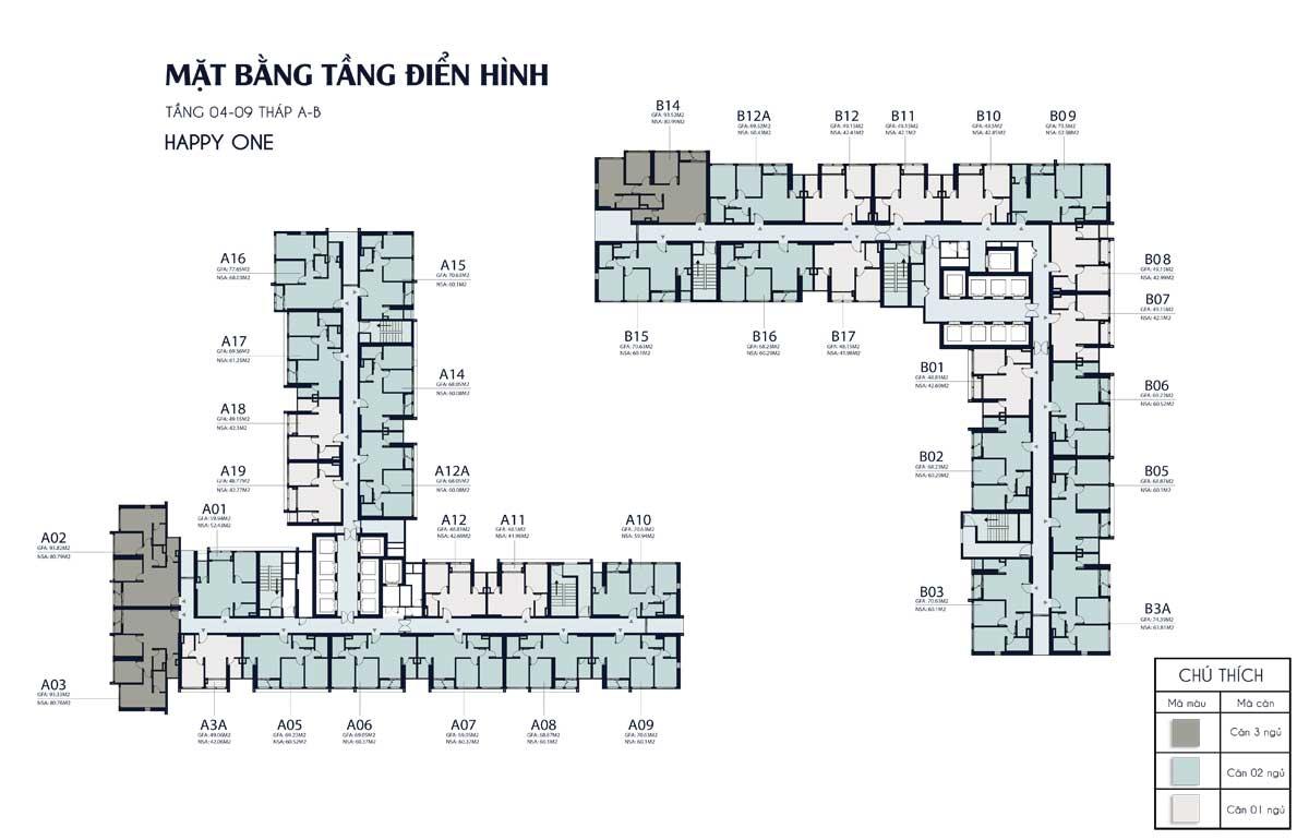 mat bang tang 4 9 thap A B Happy One Central - DỰ ÁN CĂN HỘ HAPPY ONE CENTRAL BÌNH DƯƠNG
