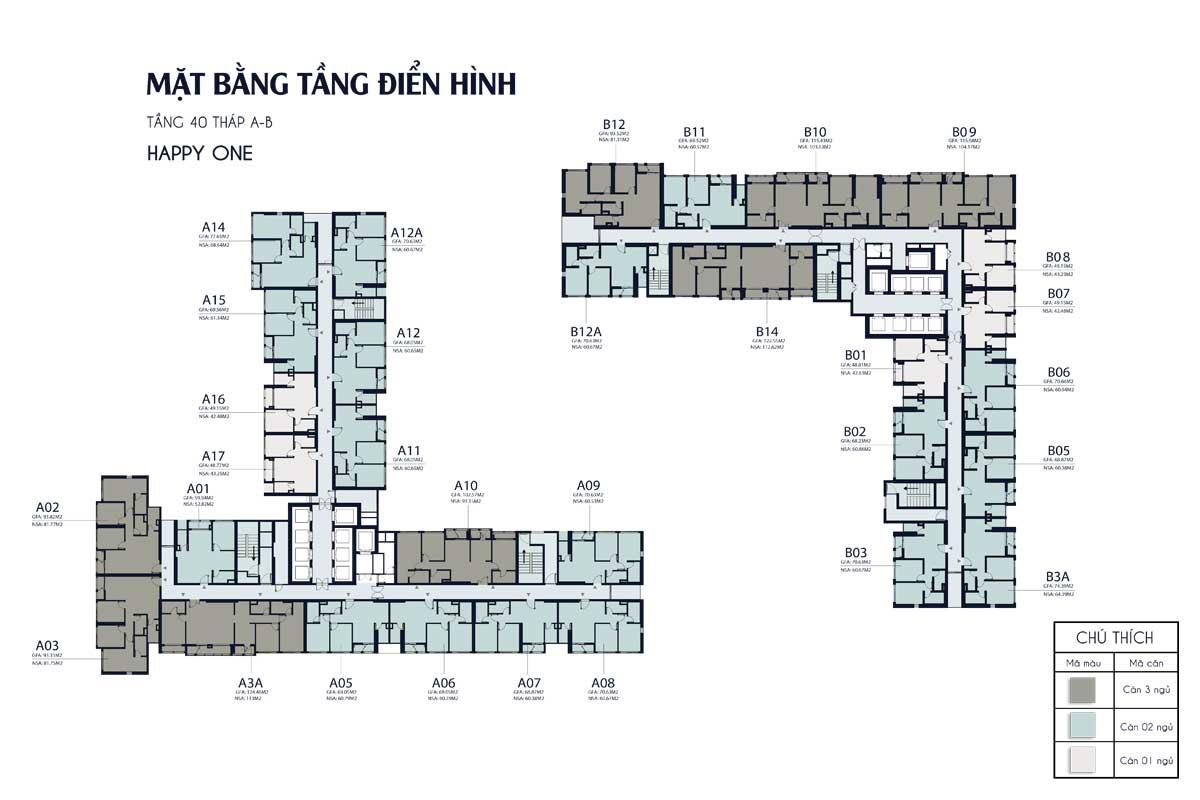 mat bang tang 40 thap A B Happy One Central - DỰ ÁN CĂN HỘ HAPPY ONE CENTRAL BÌNH DƯƠNG