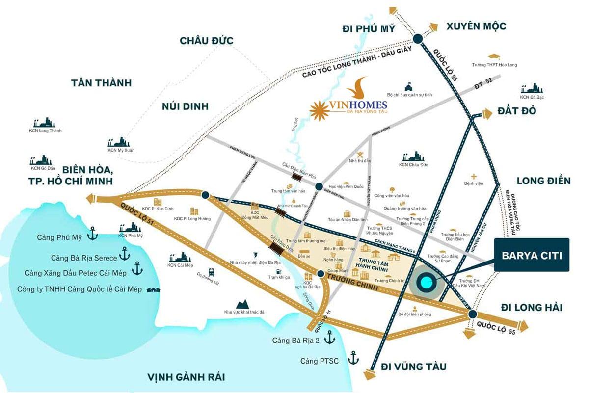 Vị trí Dự án Vinhomes Bà Rịa - Vũng Tàu
