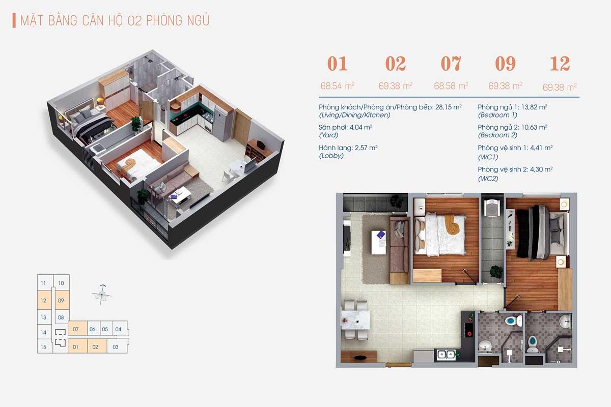 Thiết kế Căn hộ 2 Phòng ngủ Số 01 02 07 09 12 ViVa Plaza - VIVA PLAZA QUẬN 7