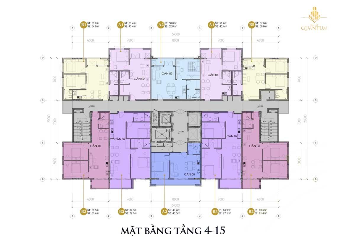 mat bang tang 4 15 Du an De 1st Quantum - DỰ ÁN CĂN HỘ DE 1ST QUANTUMHUẾ