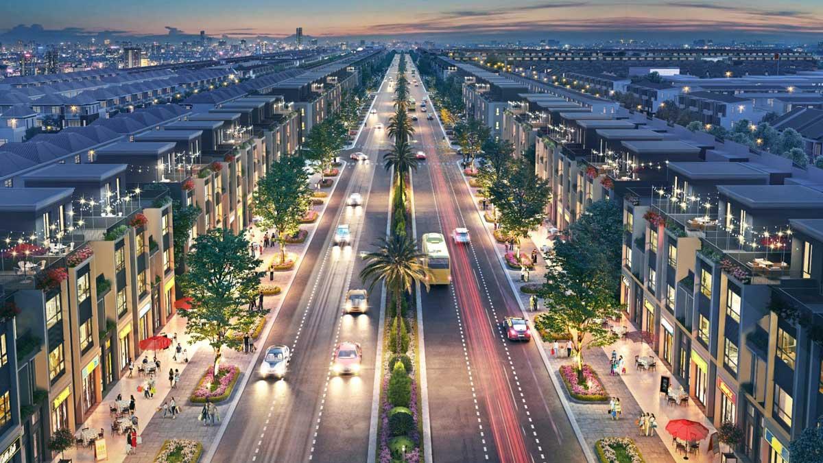 Đại lộ vàng Goldsilk boulevard dài 2km lộ giới 34m với 6 làn xe - DỰ ÁN GEM SKY WORLD LONG THÀNH ĐỒNG NAI