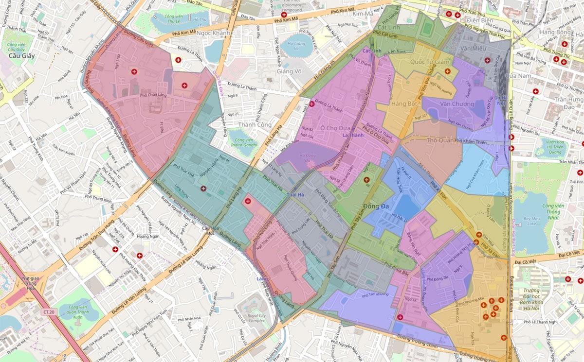 Bản đồ hành chính Quận Đống Đa TP Hà Nội - BẢN ĐỒ HÀNH CHÍNH HÀ NỘI VÀ CÁC QUẬN HUYỆN MỚI NHẤT