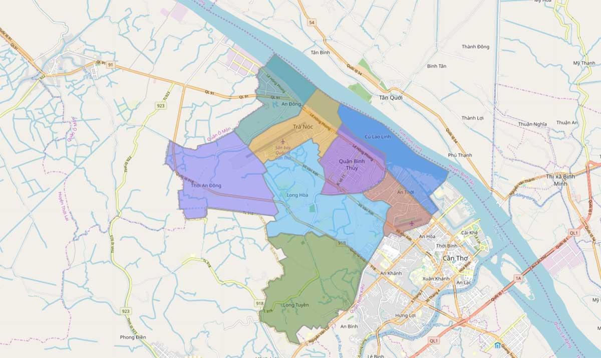 Bản đồ hành chính Quận Bình Thuỷ TP Cần Thơ - BẢN ĐỒ HÀNH CHÍNH THÀNH PHỐ CẦN THƠ & THÔNG TIN QUY HOẠCH CẦN THƠ MỚI NHẤT