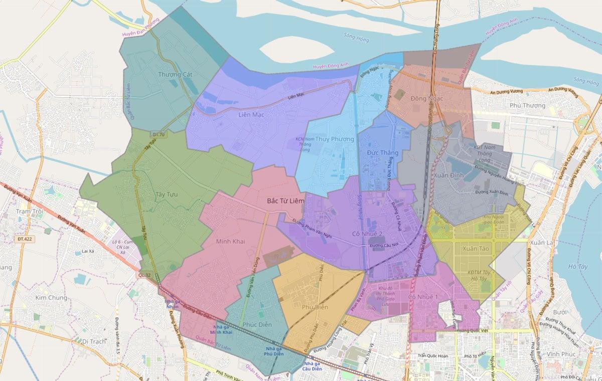 Bản đồ hành chính Quận Bắc Từ Liêm TP Hà Nội - BẢN ĐỒ HÀNH CHÍNH HÀ NỘI VÀ CÁC QUẬN HUYỆN MỚI NHẤT