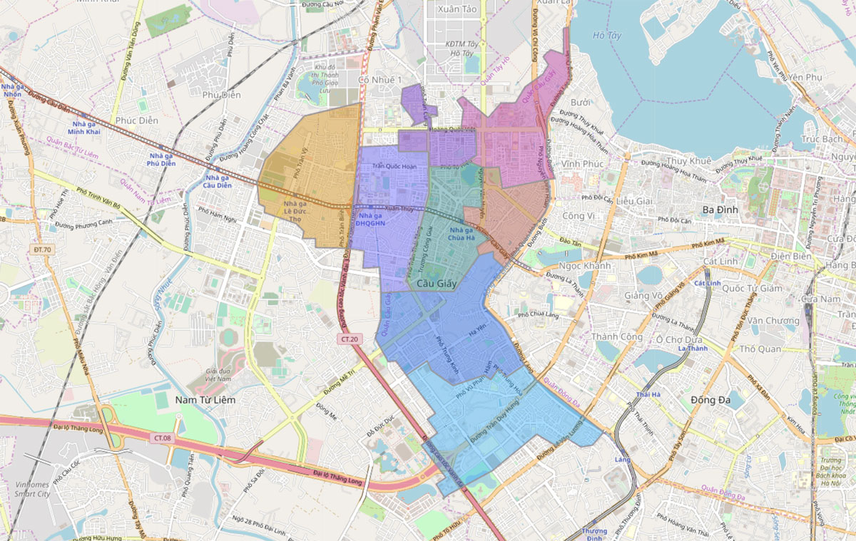 Bản đồ hành chính Quận Cầu Giấy TP Hà Nội - BẢN ĐỒ HÀNH CHÍNH HÀ NỘI VÀ CÁC QUẬN HUYỆN MỚI NHẤT