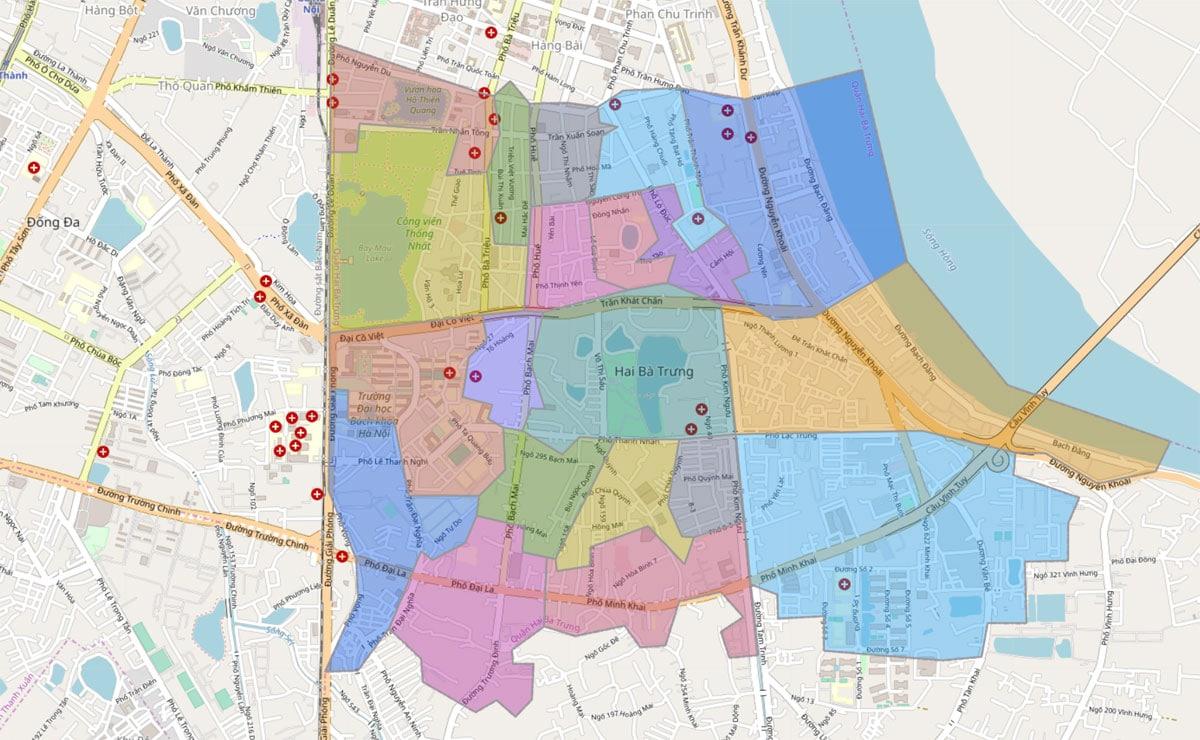 Bản đồ hành chính Quận Hai Bà Trưng TP Hà Nội - BẢN ĐỒ HÀNH CHÍNH HÀ NỘI VÀ CÁC QUẬN HUYỆN MỚI NHẤT