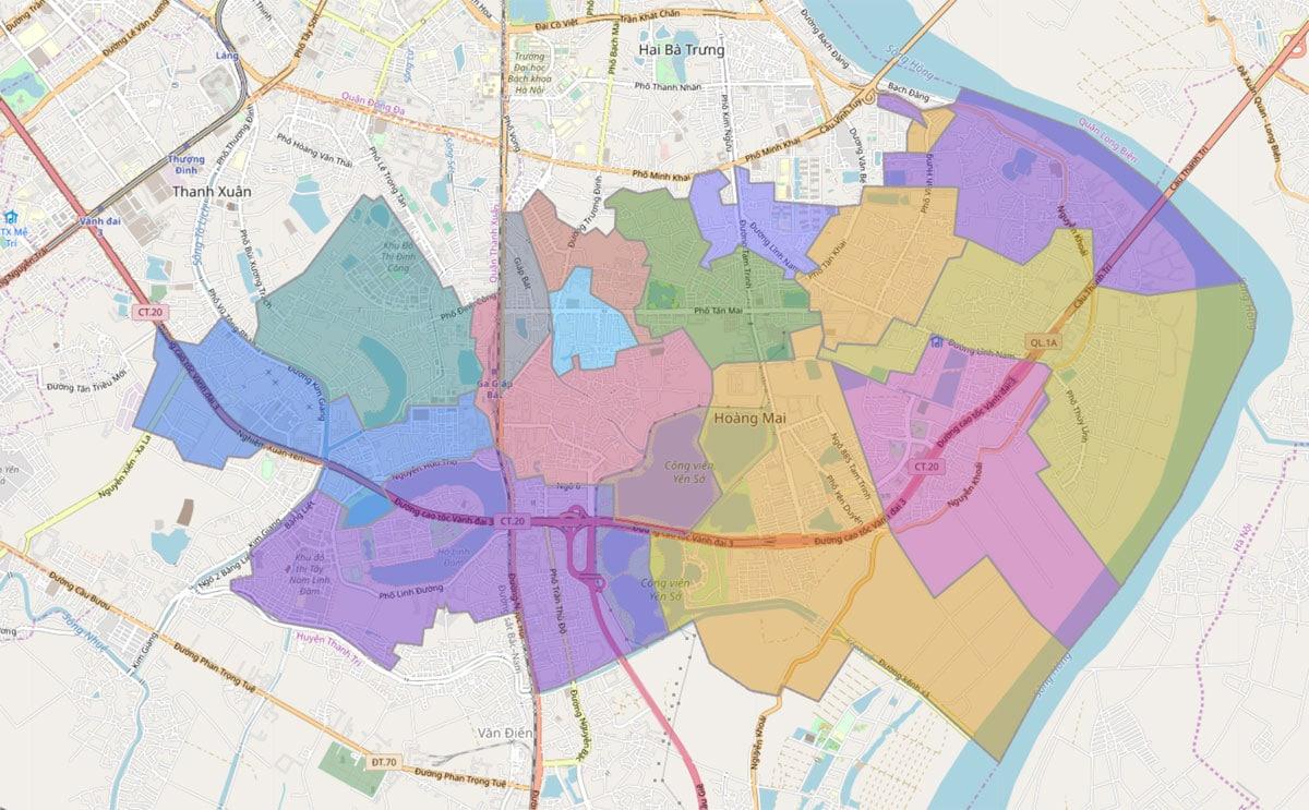 Bản đồ hành chính Quận Hoàng Mai TP Hà Nội - BẢN ĐỒ HÀNH CHÍNH HÀ NỘI VÀ CÁC QUẬN HUYỆN MỚI NHẤT