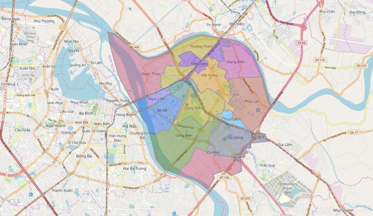 Bản đồ hành chính Quận Long Biên TP Hà Nội - BẢN ĐỒ HÀNH CHÍNH HÀ NỘI VÀ CÁC QUẬN HUYỆN MỚI NHẤT
