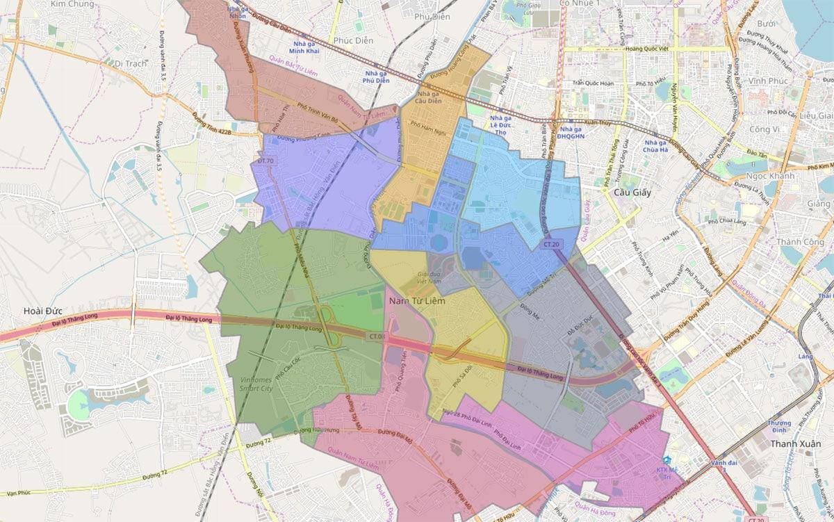 Bản đồ hành chính Quận Nam Từ Liêm TP Hà Nội - BẢN ĐỒ HÀNH CHÍNH HÀ NỘI VÀ CÁC QUẬN HUYỆN MỚI NHẤT