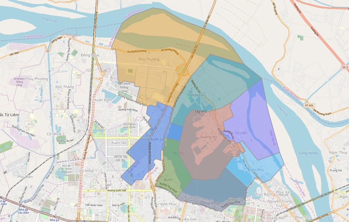 Bản đồ hành chính Quận Tây Hồ TP Hà Nội - BẢN ĐỒ HÀNH CHÍNH HÀ NỘI VÀ CÁC QUẬN HUYỆN MỚI NHẤT
