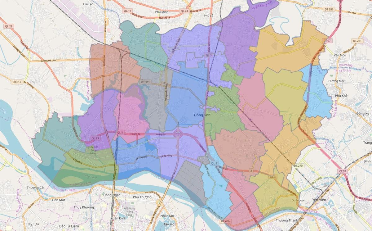 Bản đồ hành chính huyện Đông Anh TP Hà Nội - BẢN ĐỒ HÀNH CHÍNH HÀ NỘI VÀ CÁC QUẬN HUYỆN MỚI NHẤT