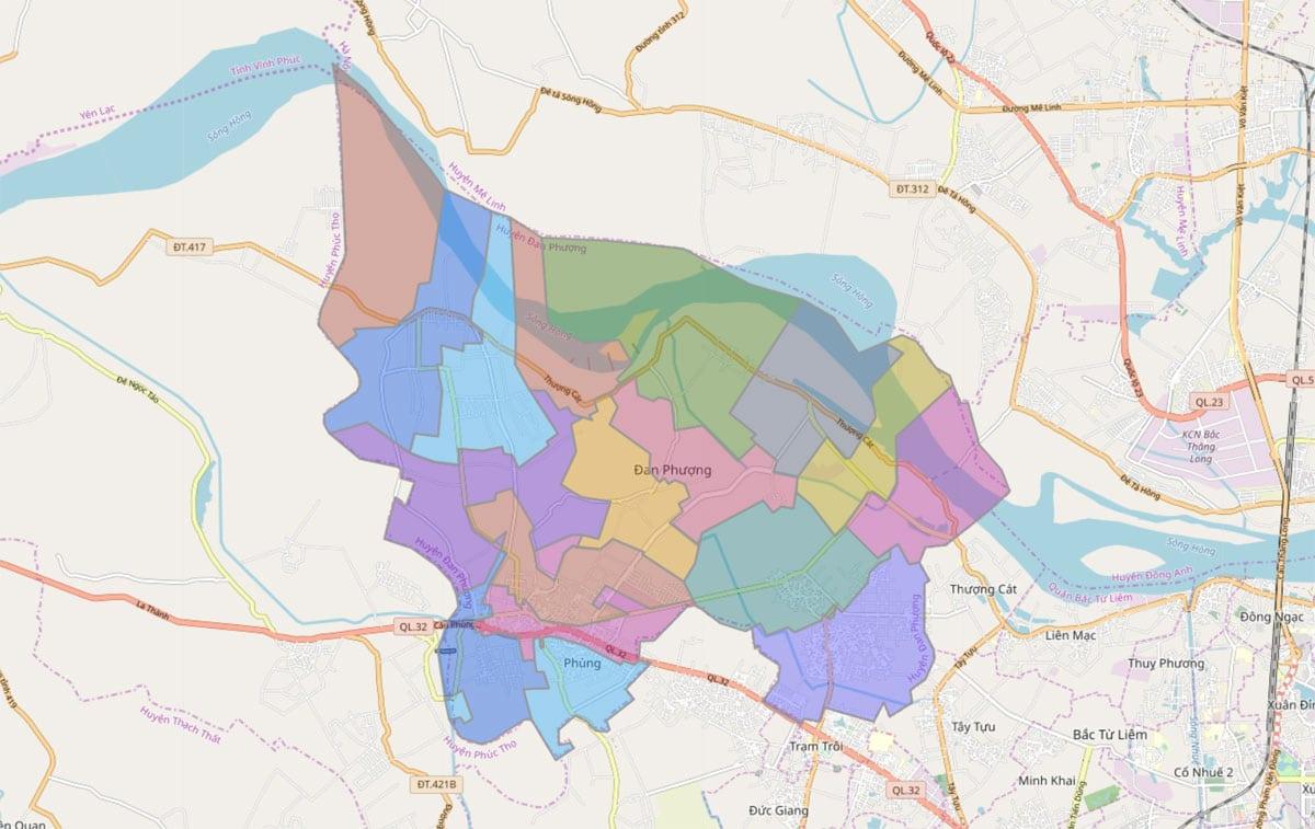 Bản đồ hành chính huyện Đan Phượng TP Hà Nội - BẢN ĐỒ HÀNH CHÍNH HÀ NỘI VÀ CÁC QUẬN HUYỆN MỚI NHẤT