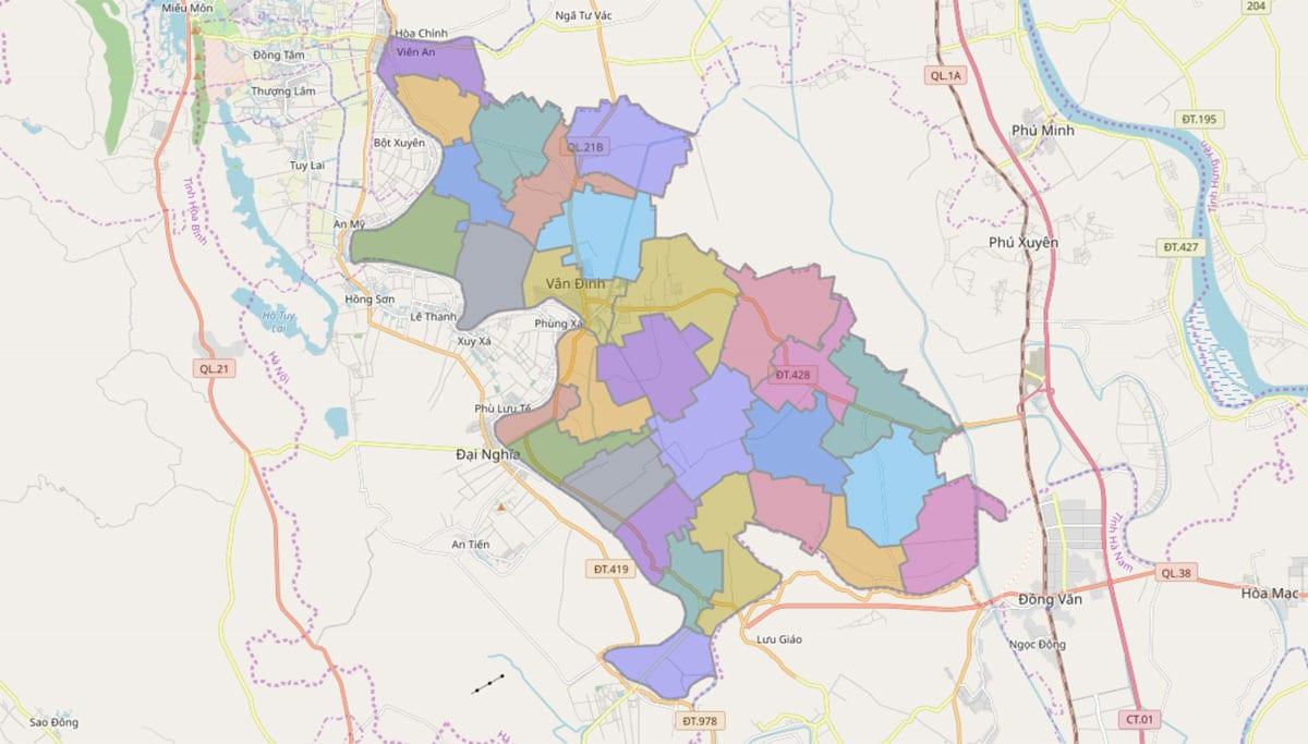 Bản đồ hành chính huyện Ứng Hòa TP Hà Nội - BẢN ĐỒ HÀNH CHÍNH HÀ NỘI VÀ CÁC QUẬN HUYỆN MỚI NHẤT